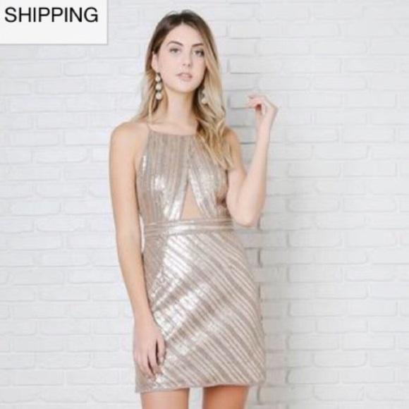 1654cca53b6 Dresses | Stunning Gold Sequin High Neck Dress | Poshmark